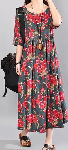 O-NEWE Vintage Flower Printed Short Sleeve Maxi Dress For Women #fashion #top #s...