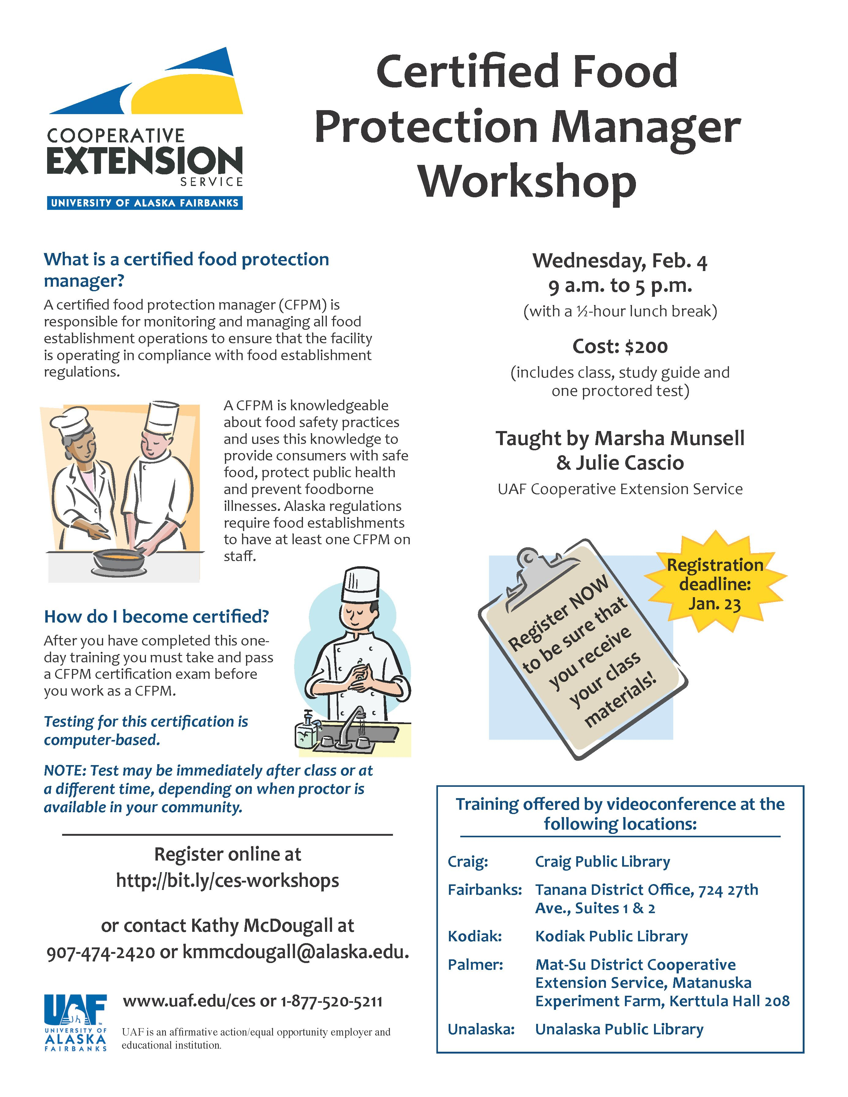 Certified food protection manager workshop february 4 2015 uaf certified food protection manager workshop february 4 2015 xflitez Gallery