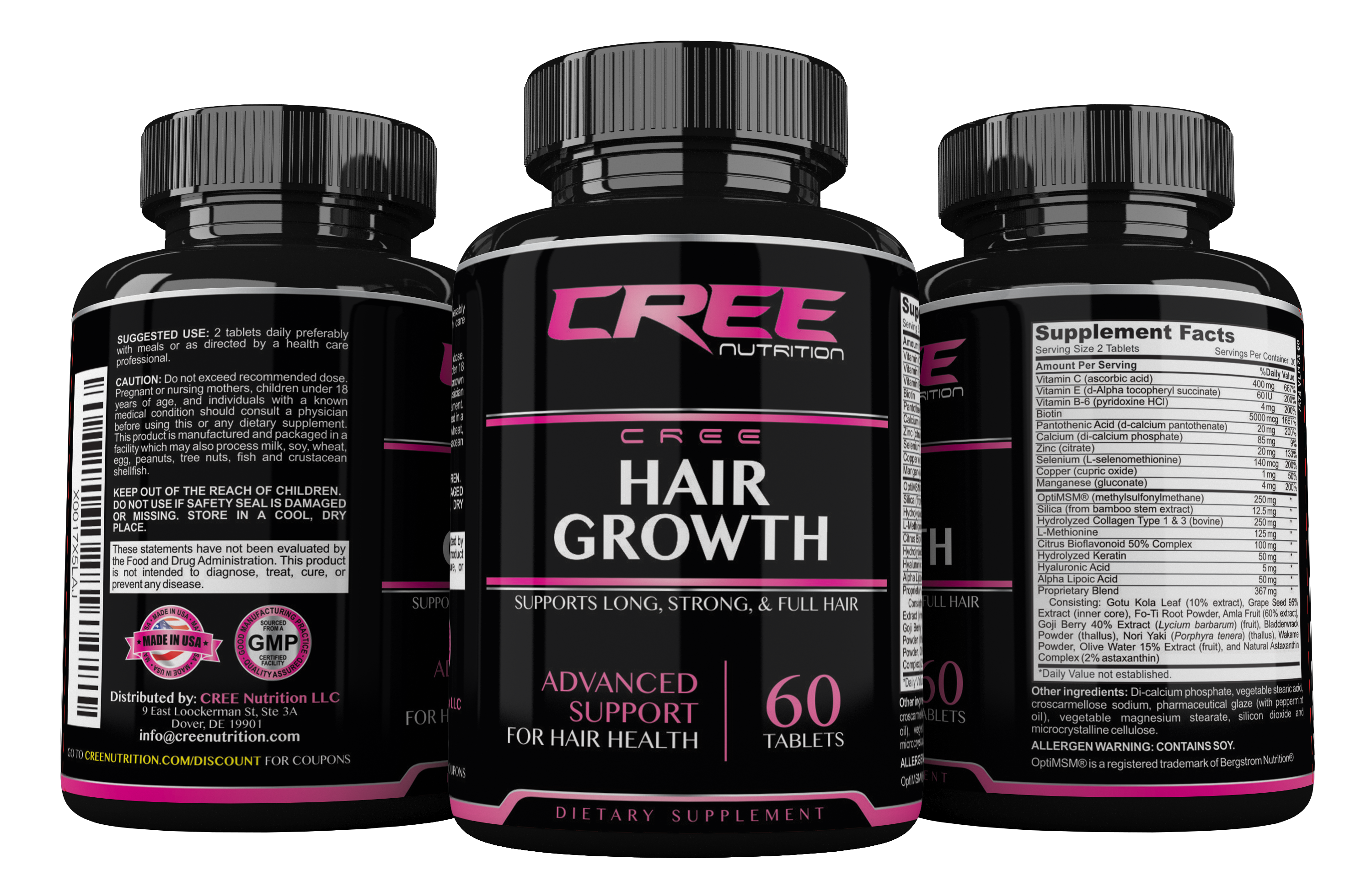 CREE Nutrition Hair Growth Supplements Natural Nutrients for Longer ...