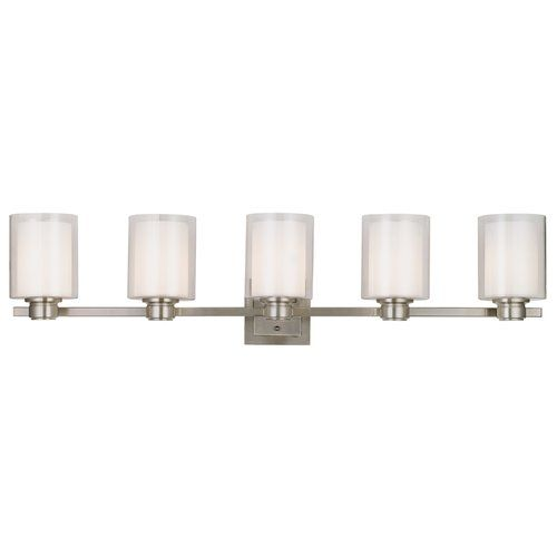 Design house 556175 oslo 5 light vanity light satin nickel glass shades and satin nickel finish for indoor wall mount applications 60 watt