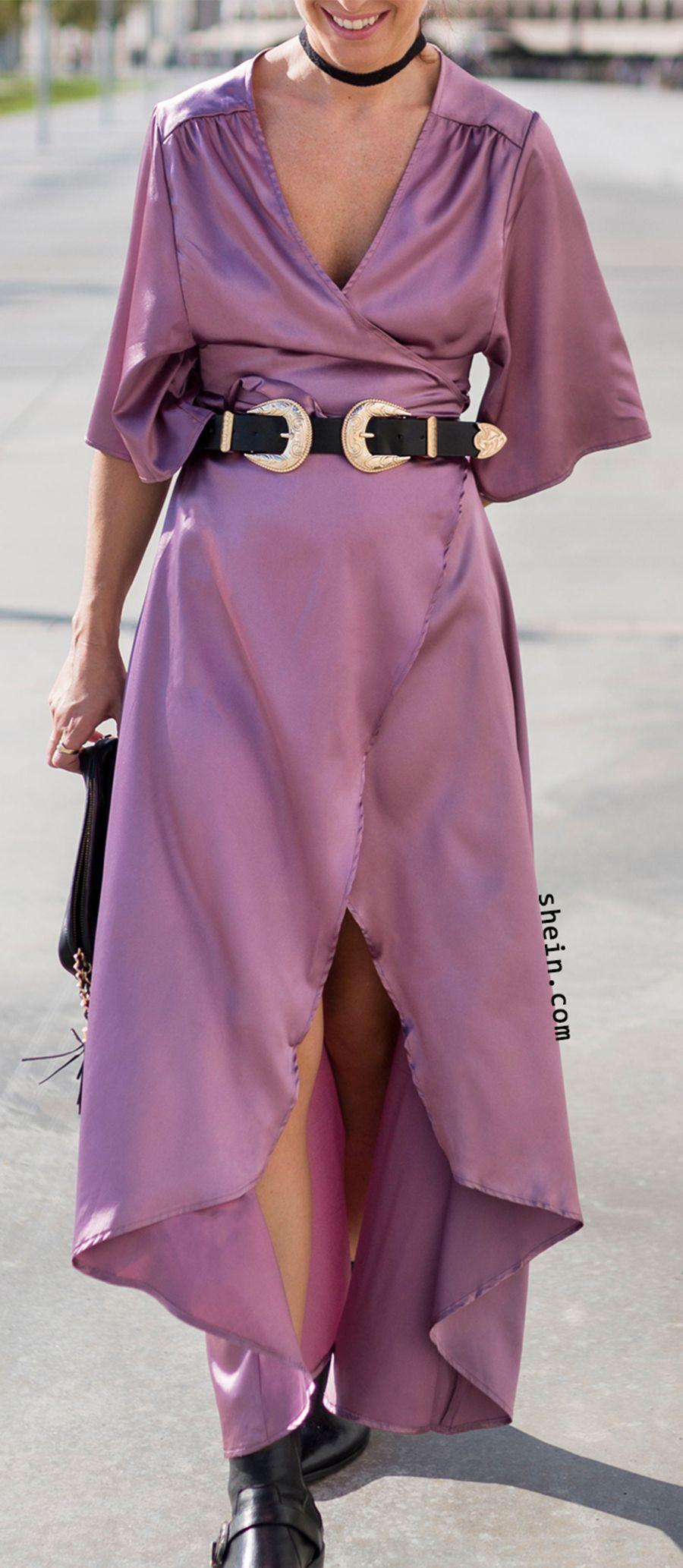 Light purple satin long dress long sleeve short dress