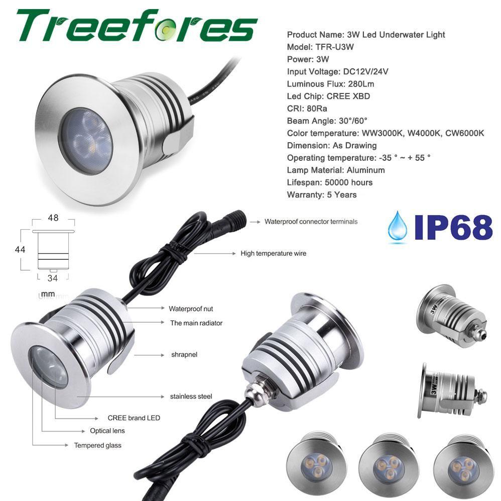 RGB 3W IP68 LED COB Downlight DC 12V 24V Mini Bulb Spot US $23 96