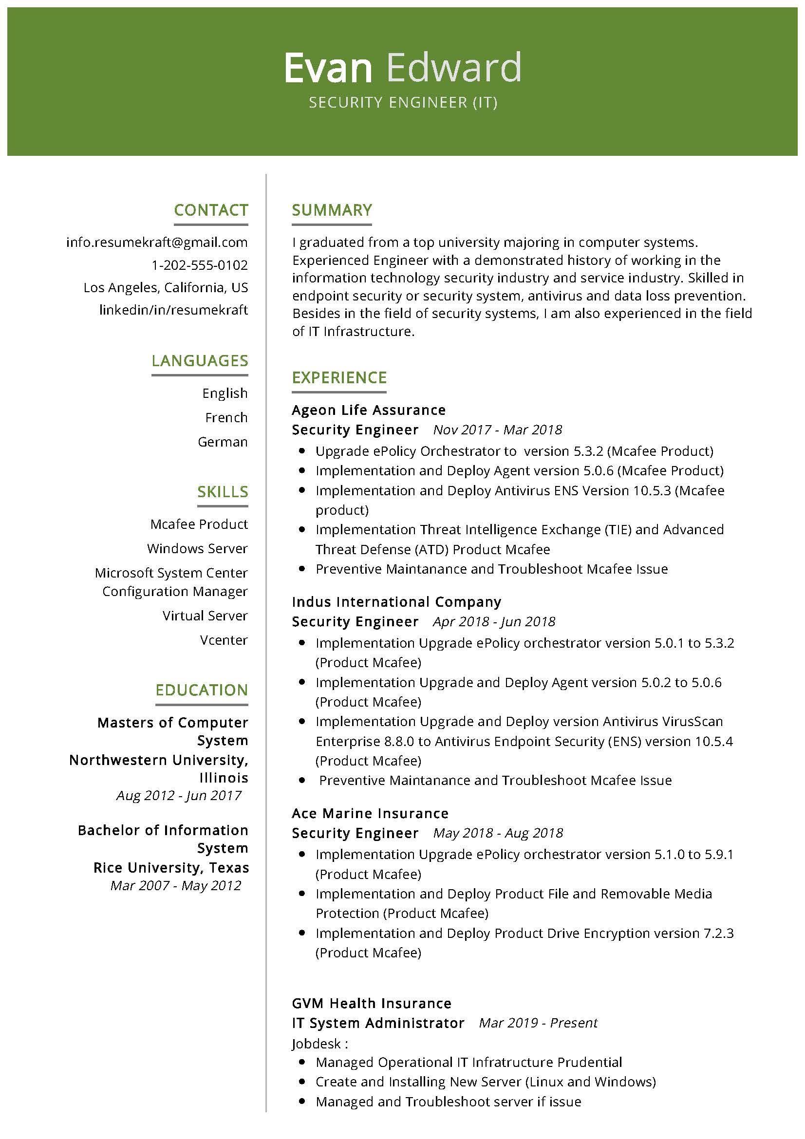 Security Engineer Sample Resume Resume Writing Tips Engineering