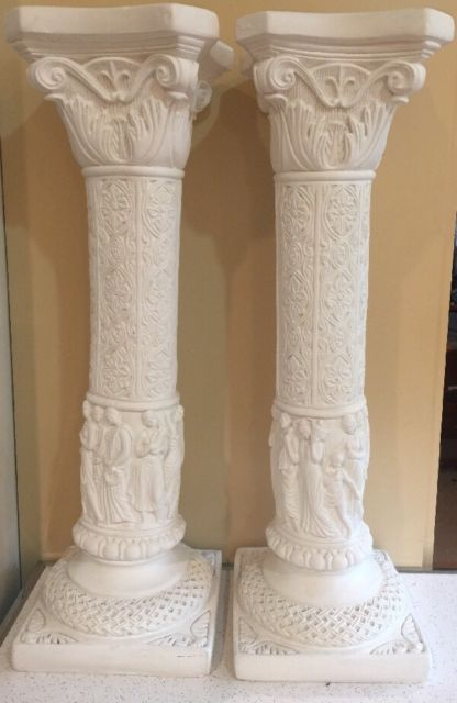 28 Ornate Relief Ionic Greek Roman Column Pedestal Style Home Decor