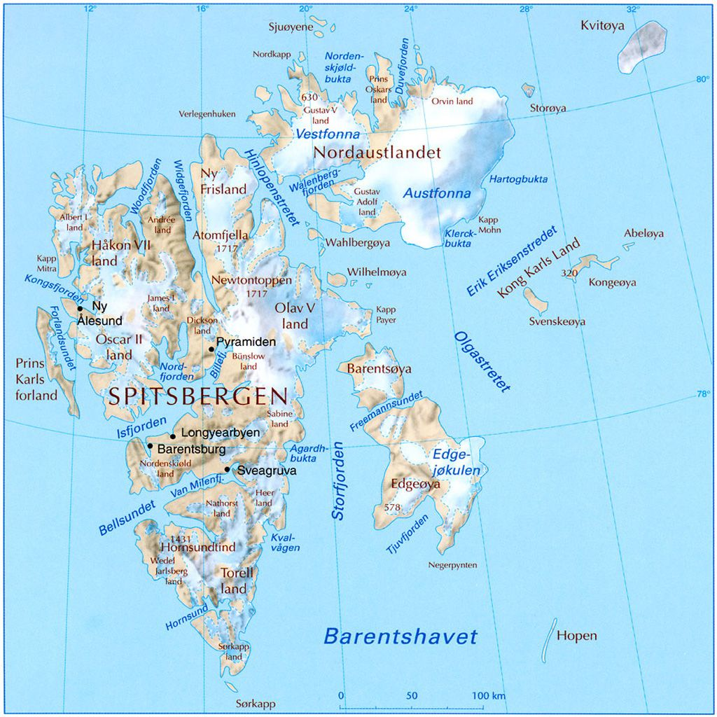 Svalbard Physical Map Svalbard Norway Mappery Alesund Norge