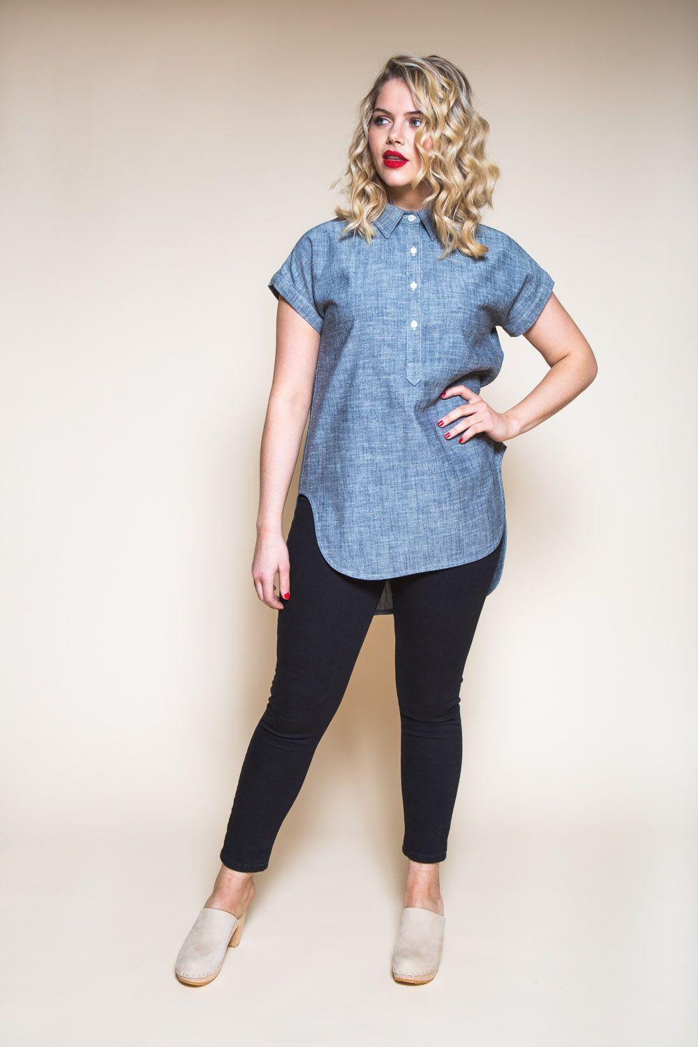 5d53670faa2301 Kalle Shirt Pattern    Button-down tunic with popover placket    Closet  Case Patterns