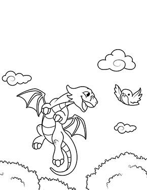 Ausmalbild Fliegender Drache Lustige Malvorlagen Drachenzeichnungen Drachen