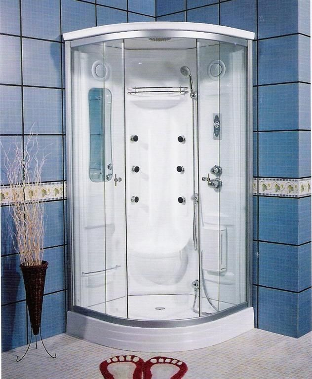Corner Units Steam Fiberglass Showers With Blue Ceramic Wall