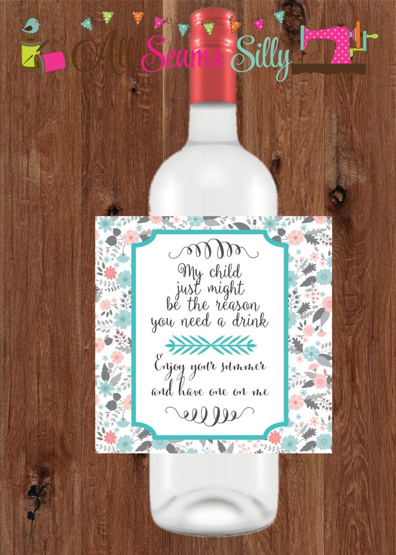 Diy Wine Bottle Labels Wine Bottle Label Gift Diy Printable By Allseamssilly On