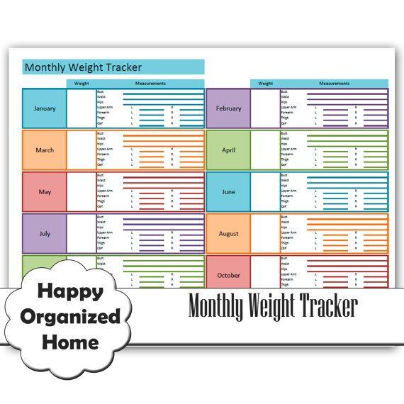 Weight Loss and Measurement Progress Chart, Weight Loss Tracker