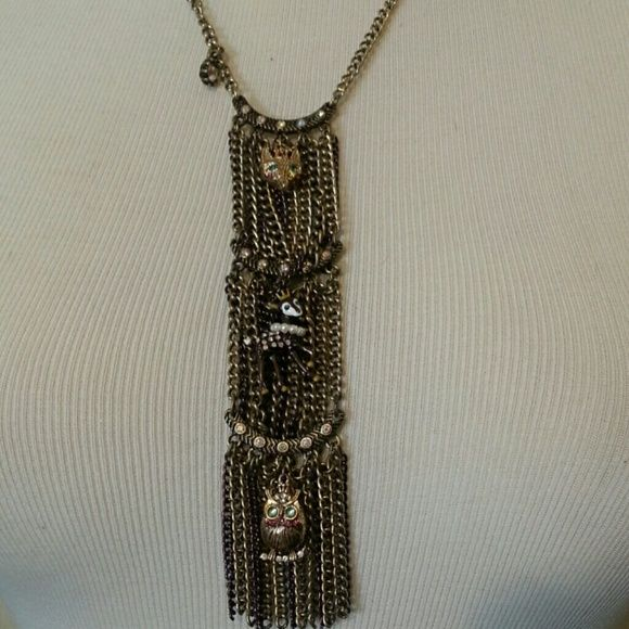 """Betsey Johnson """"Critters"""" Necklace This fun and whimsical necklace in gold, adorns the woodland owl, fox and deer! Matching earrings available! Betsey Johnson Jewelry Necklaces"""