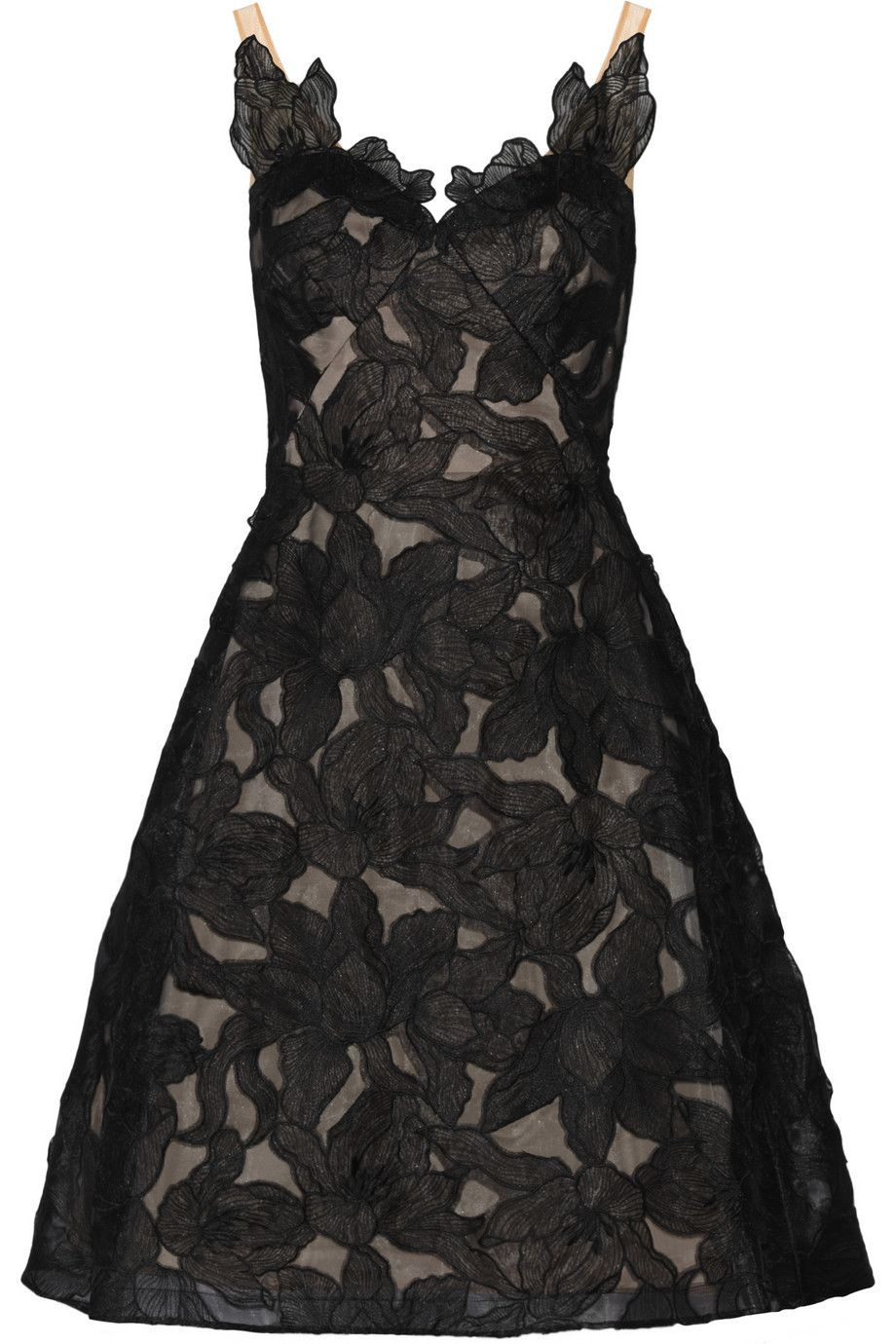organza floral dress - Black Marchesa