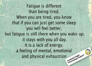 Fatigue is a lack of energy, a feeling of mental, emotional and physical exhaustion. It doesn't go away after sleep. by wendy.grieshaber
