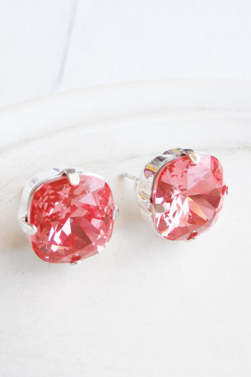 on earrings etsy stud pin sparkly pink cushion swarovski cut watermelon posts linkeldesigns by