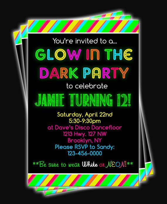 Glow In The Dark Neon Birthday Party Printable Invitation On Etsy