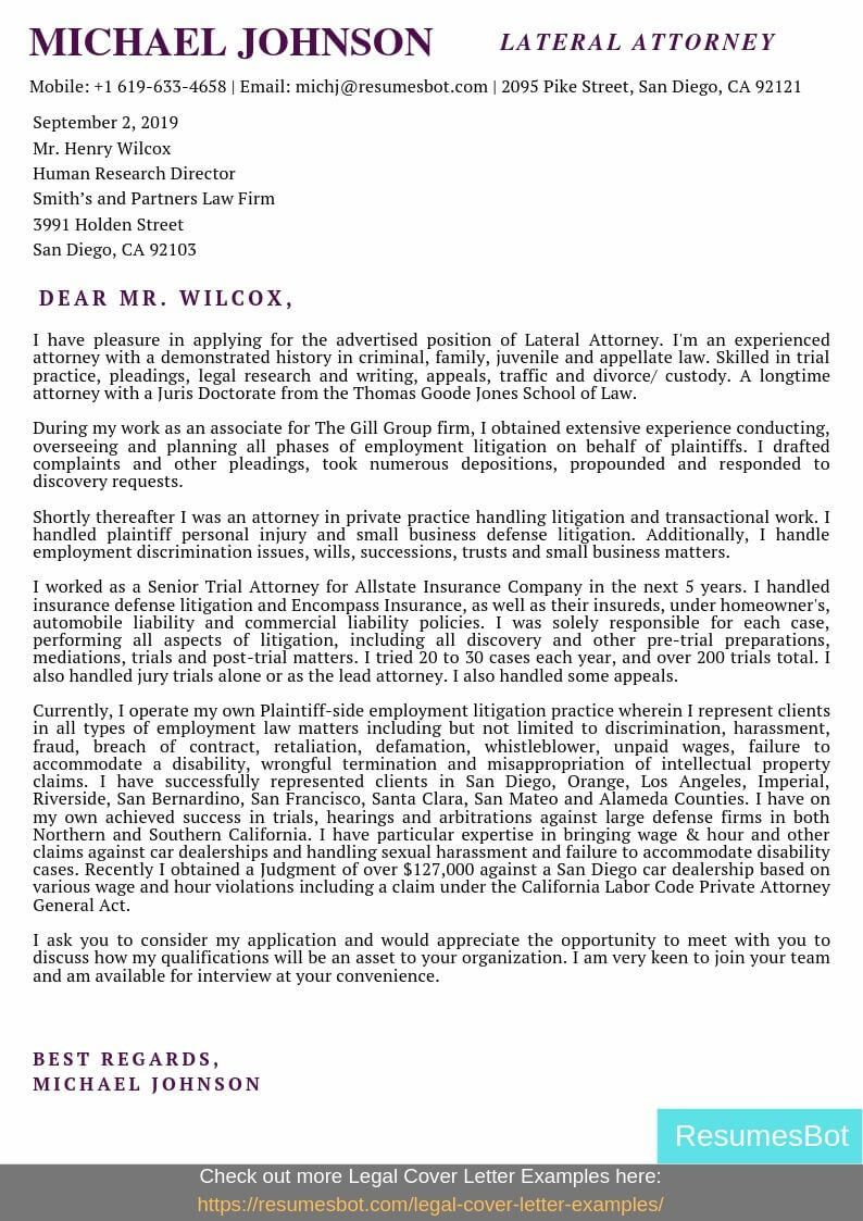 Lateral Attorney Cover Letter Samples & Templates [PDF