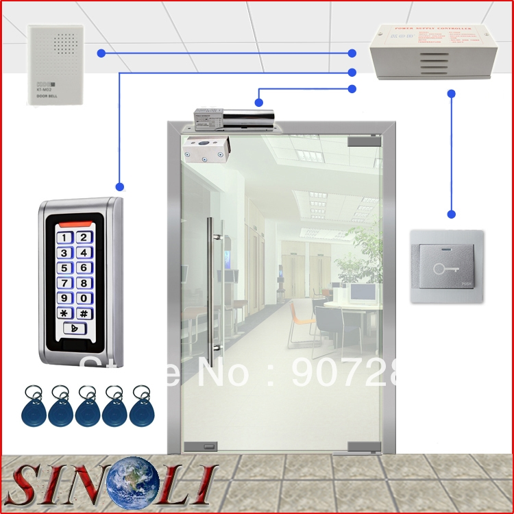 78.00$  Buy now - http://ali9sf.worldwells.pw/go.php?t=905083229 - Complete One Door Standalone Access Control System with Narrow Metal Keypad for Glass Door 78.00$