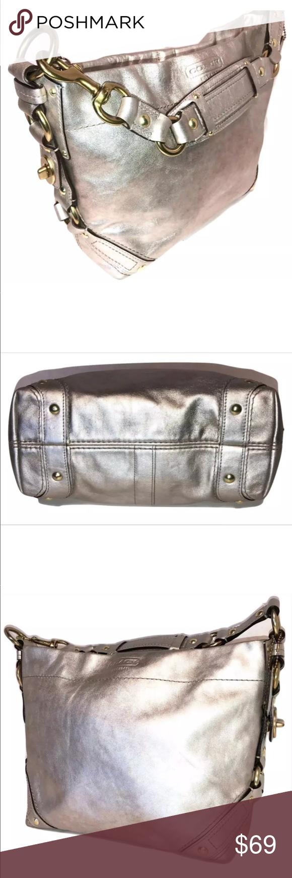 Coach Carly Metallic Leather Hobo Shoulder Bag   Metallic leather ... b8aba0582f