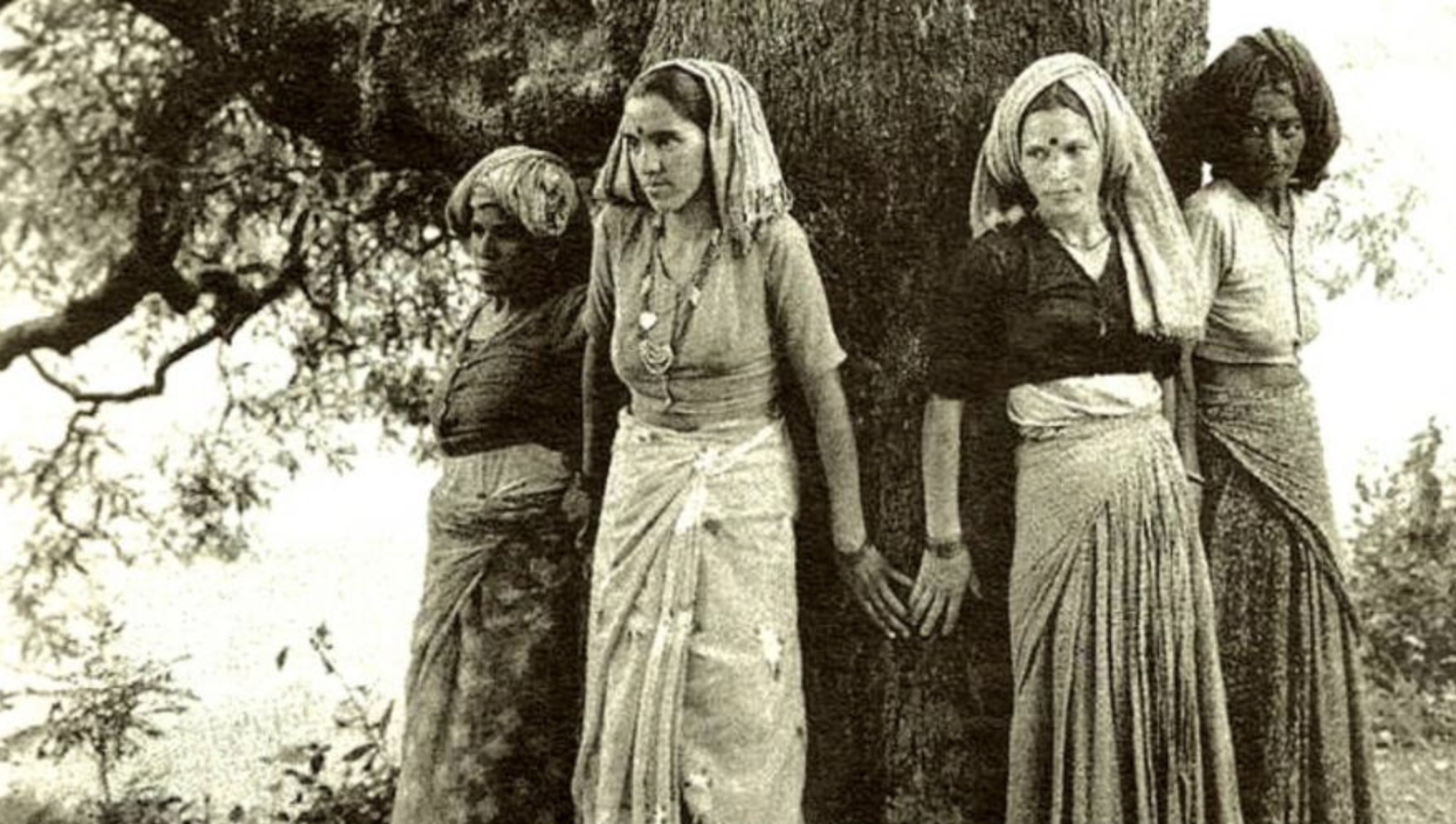 Women protecting a tree Chipko movement, Conservation