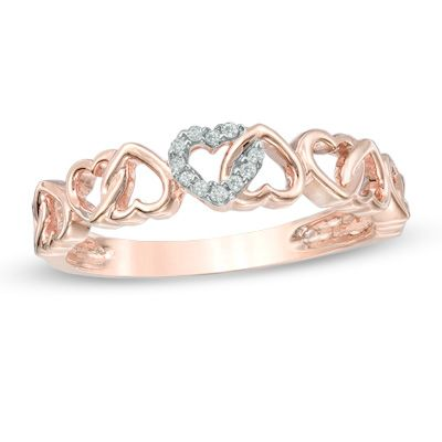 Zales Diamond Accent Alternating Hearts Ring in Sterling Silver m90eCWPL