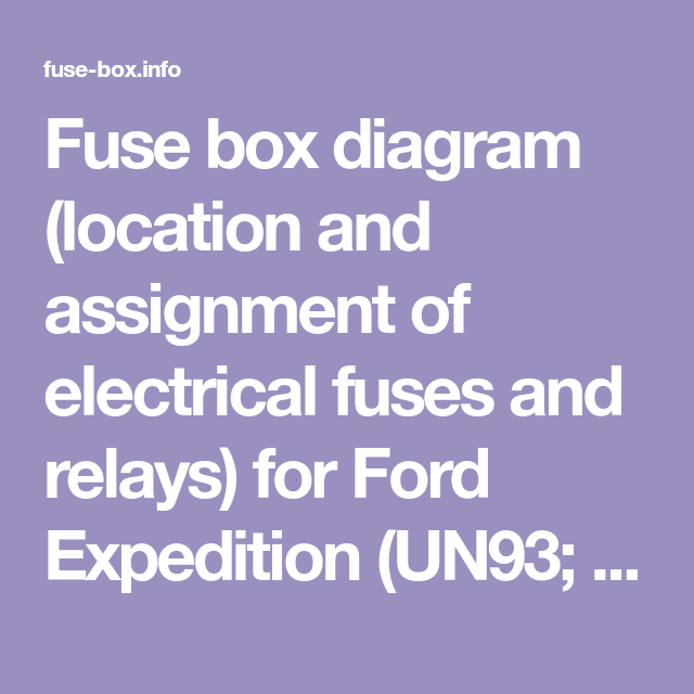 Fuse Box Diagram Location And Assignment Of Electrical Fuses And Relays For Ford Expedition Un93 1997 1998 1999 2000 2001 Fuse Box Ford Edge Fuse Panel