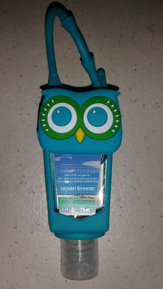 Teal Blue Owl Hand Gel Sanitizer Holder With 1oz Ocean Breeze Hand