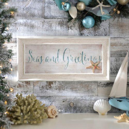 Seas and Greetings Framed Art Print Coastal christmas, Beach - coastal christmas decorations