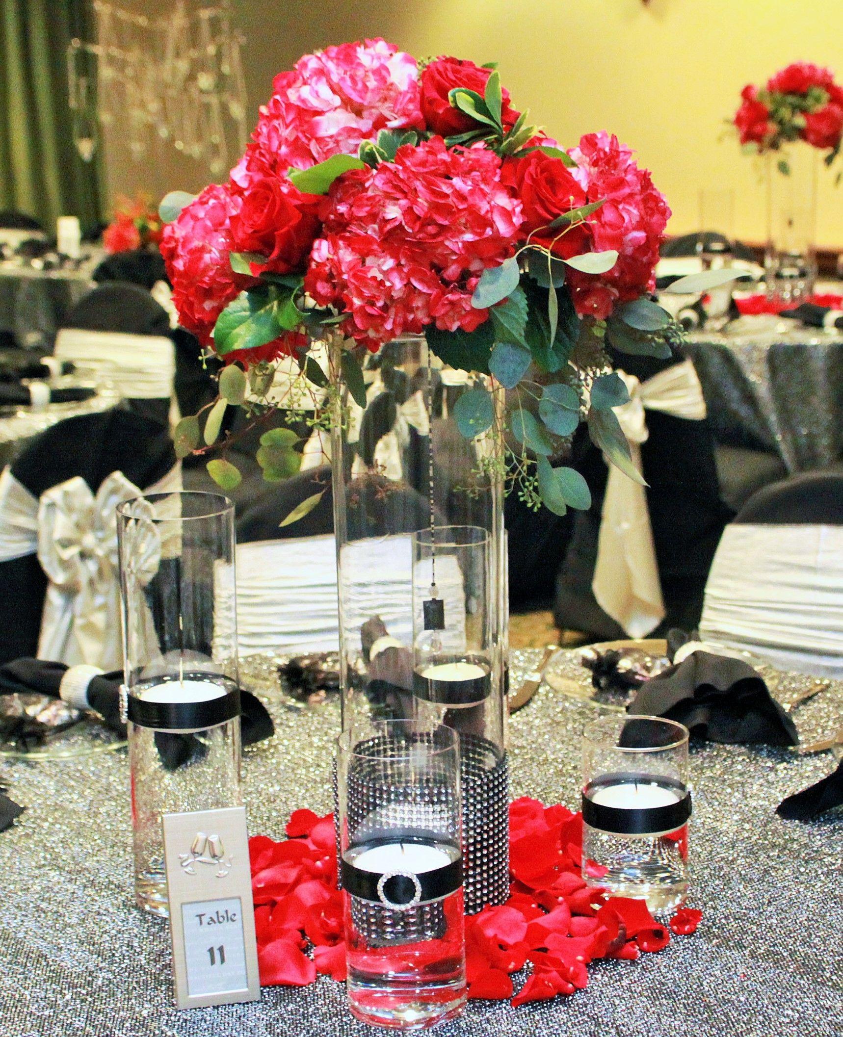 Tall Glass Cylinder Vase Wedding Centerpiece with Pink Hydrangeas