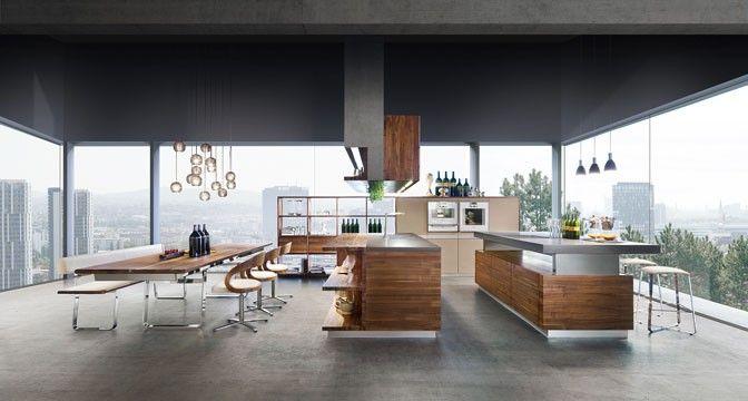 Die k7 Küche von TEAM 7 eignet sich optimal für offene Lebensräume