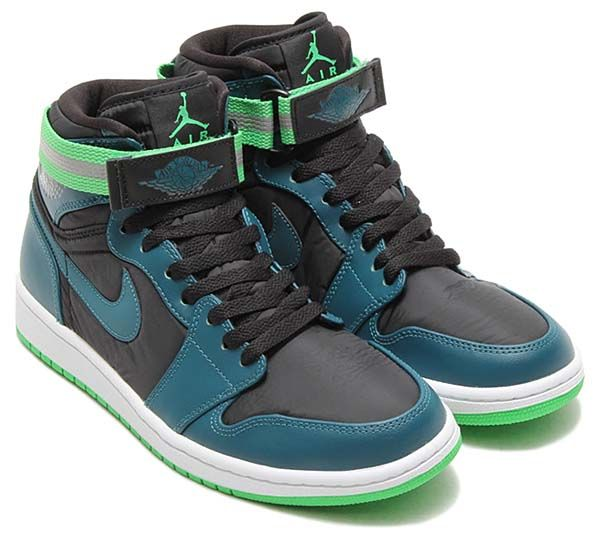 NIKE AIR JORDAN 1 HIGH STRAP  BLACK   TEAL-WHITE-LIGHT GREEN SPARK   (342132-013) b2909ff24c9f