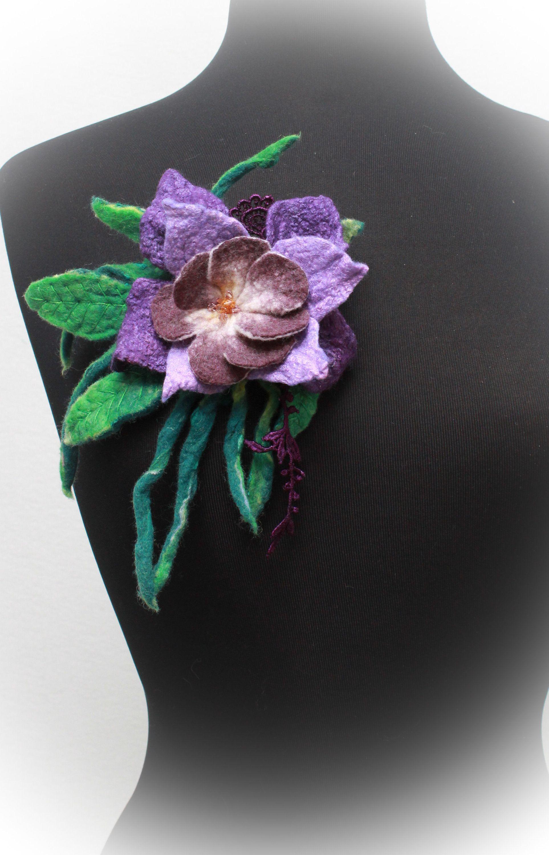 Felted Flower Brooch Nuno Felt Silk Flower Pin Purple Felt