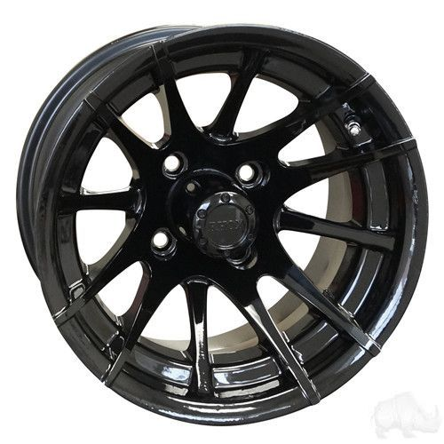 Rx104 12 Spoke Black W Center Cap 12x7 Et 25 Black Rims Golf Cart Wheels Cap