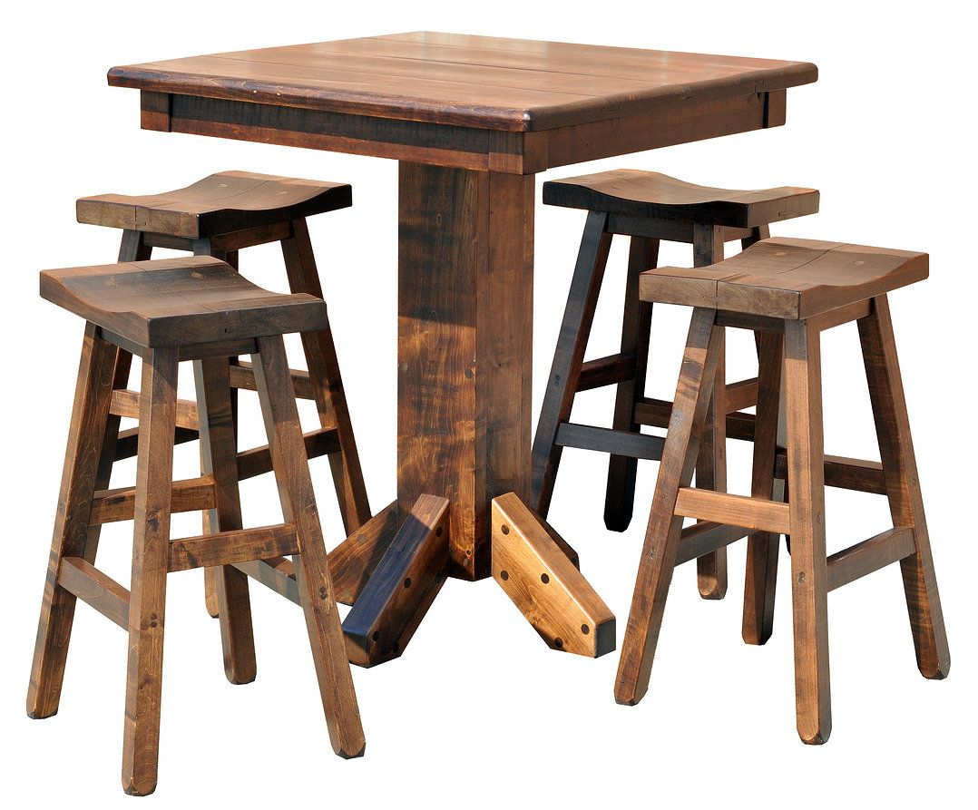 Joinery House BAR TABLES Rustic Pub Table Set in Wormy