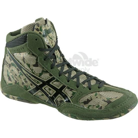 buy popular 08b0e d5618 KHAKI BLACK ARMY ASICS Split Second 9 Limited Edition Camouflage Wrestling  Shoes