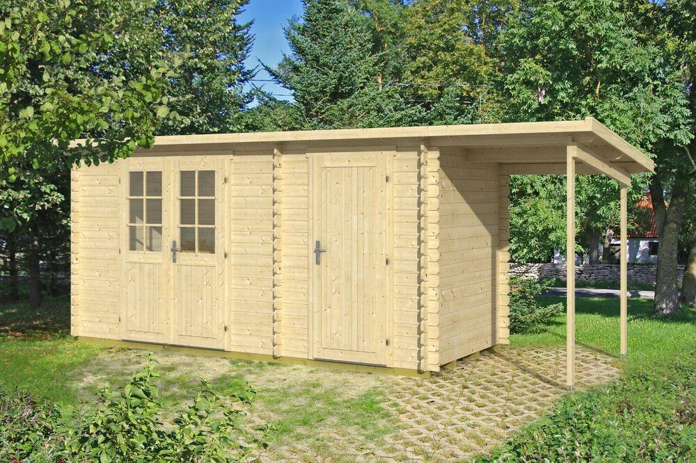 Agande Gartenhaus Blockhaus Geratehaus Holz 445x290150cm 28mm 372821 I Gartenhaus Pultdach