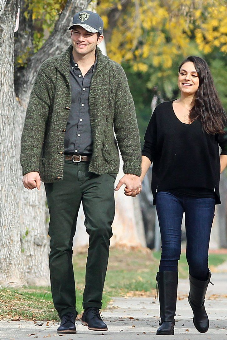 75d3a7aea2ebd Mila Kunis and Ashton Kutcher Take a Sweet Couples  Stroll After Welcoming  Their Baby Boy