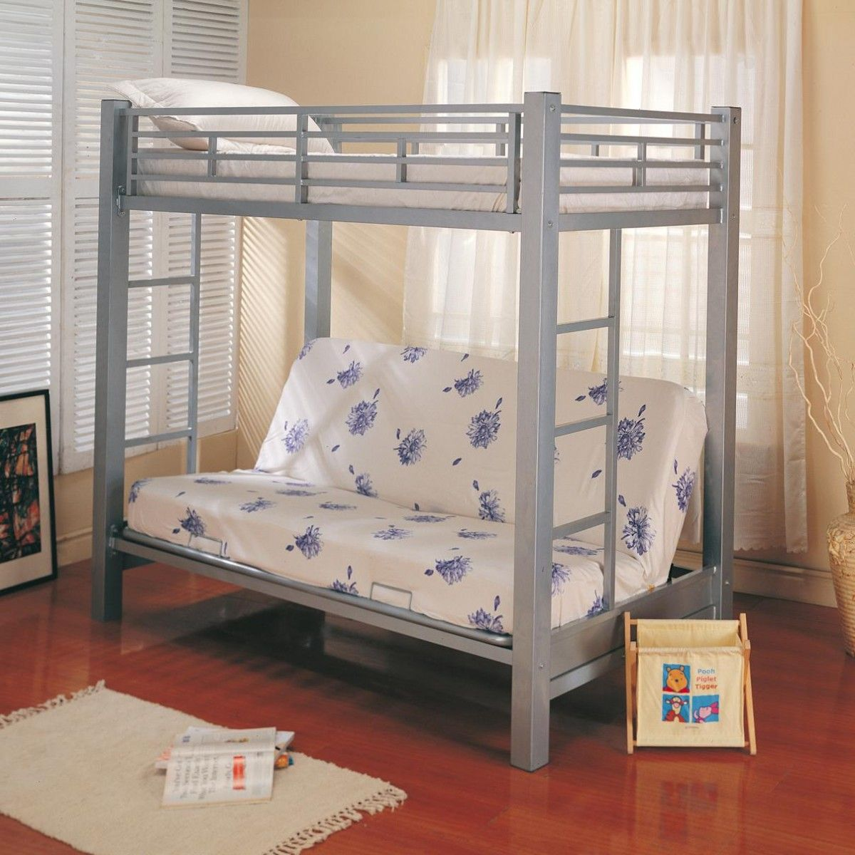 loft bed with futon   Coaster Twin Over Futon Metal Bunk Bed   Kid\'s ...