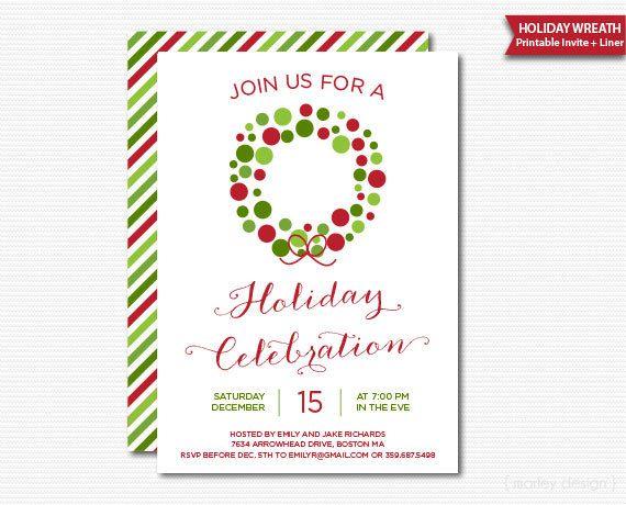 Christmas Invitation Printable Digital Invitation Christmas Party