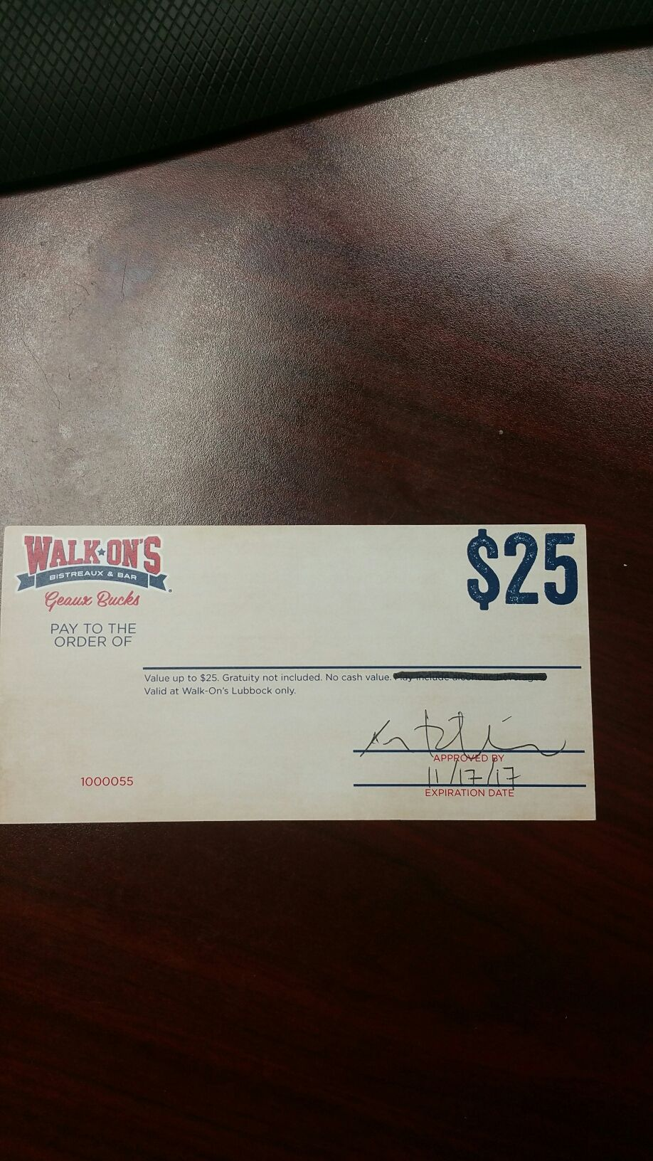 25 gift certificate to walkons located at 2630 w loop