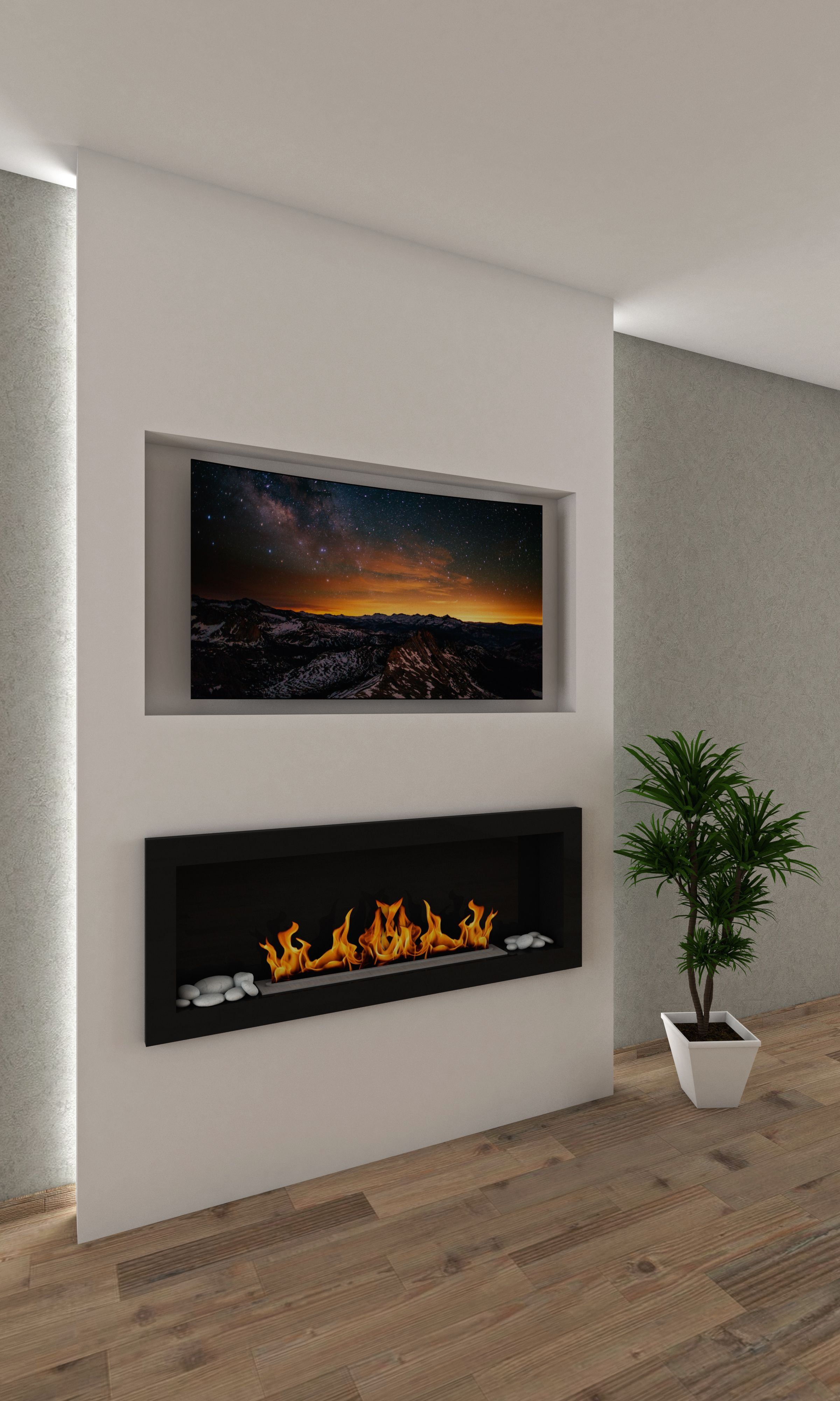 Master Bedroom Recess Tv No Surround On Wall Modern Design Home Fireplace Fireplace Wall Mount Electric Fireplace