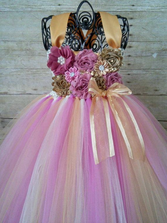 Dusty Rose Pink and Gold Birthday Tutu Dress by GigglesandWiggles1