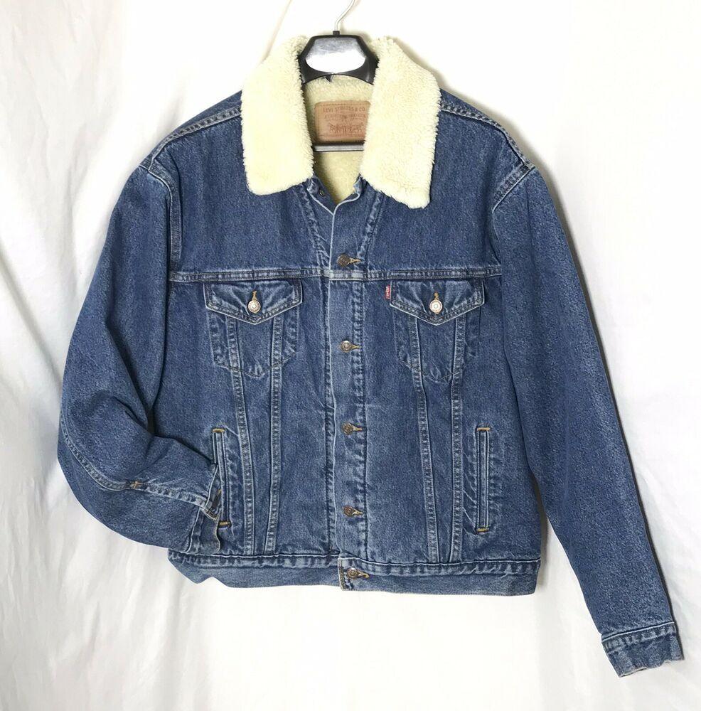 d140363a211 Vintage Levis Faux Shearling Sherpa Lined Heavy Denim Coat XL Trucker Jean  Jacket