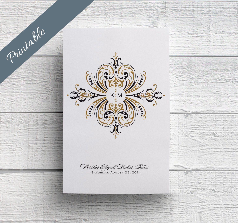 Wedding Program PDF, Blush and Gold Wedding Program, Order