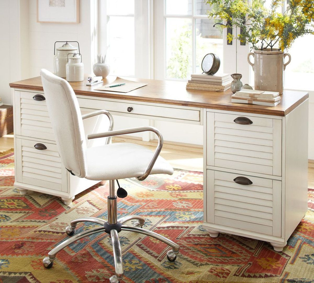 Whitney Rectangular Desk Lar Quartos Mesa