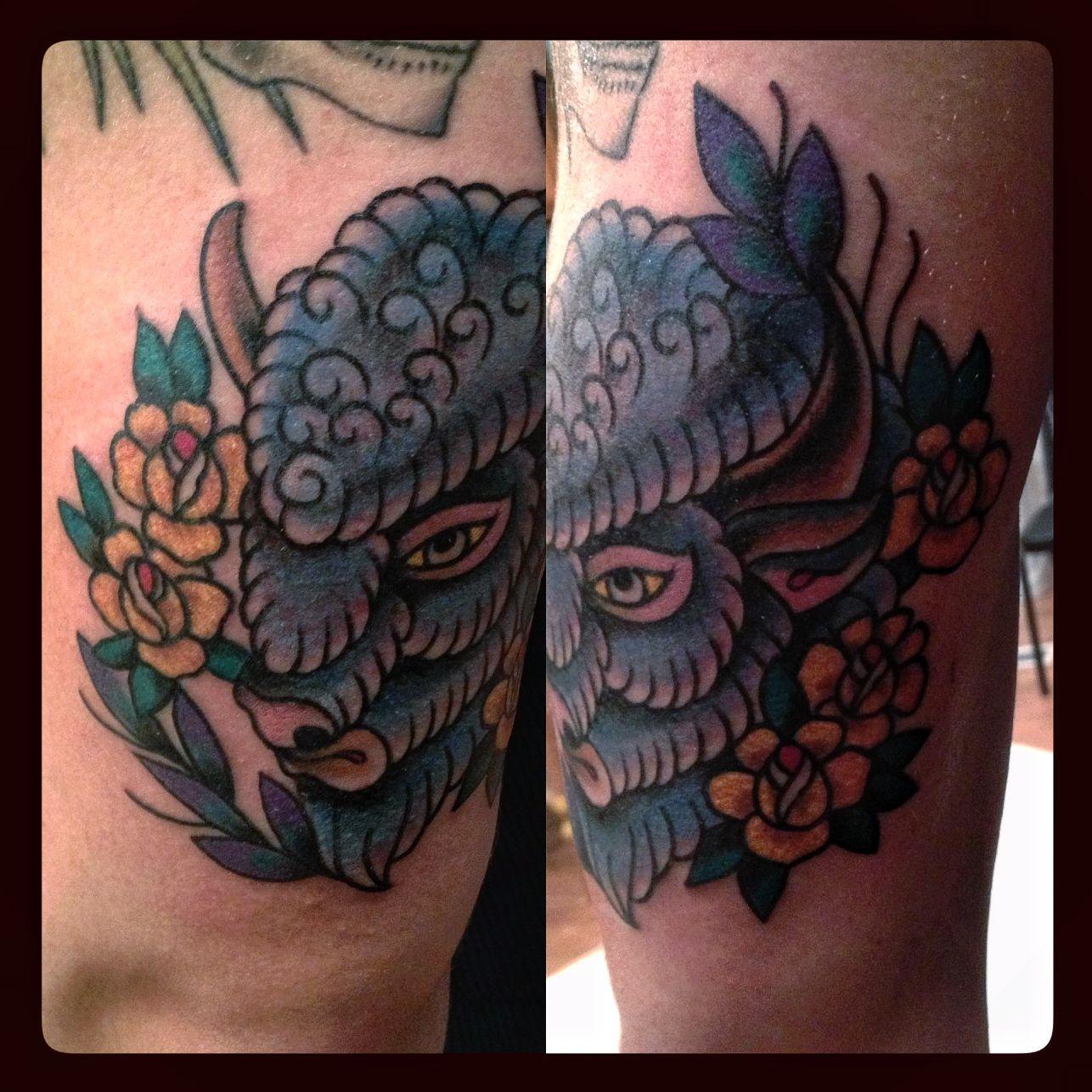White Buffalo Tattoo | My Decorated Temple | Buffalo tattoo, Tattoos ...
