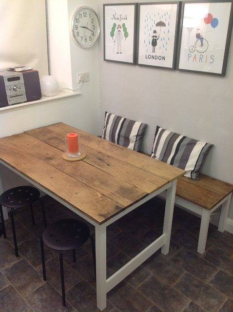 Contemporary Kitchen Table With Bench And Chair Dining Table In