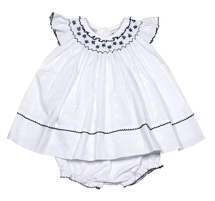 6bdc7b81fe9d Sarah Louise Baby Girls White Eyelet Dress with Bloomers - Smocked ...