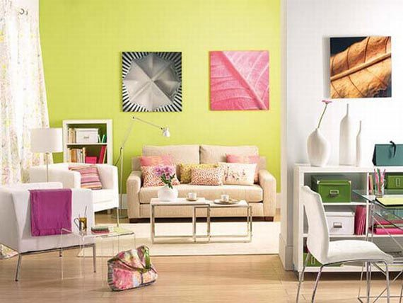 Cheerful And Attractive Casual Living Room Interior Design Idea With Bright Color