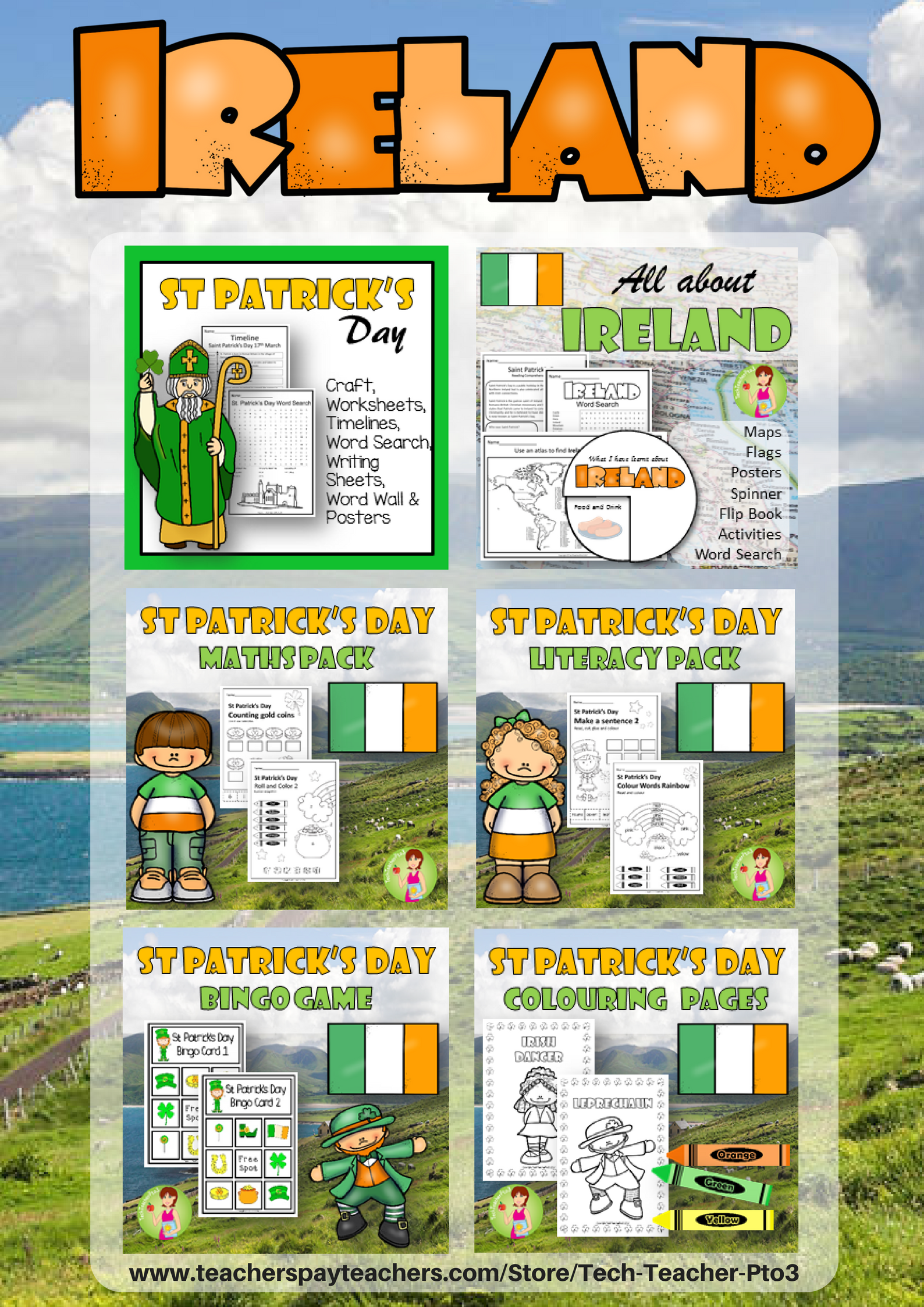 Ireland Saint Patrick Day Activities Bundle