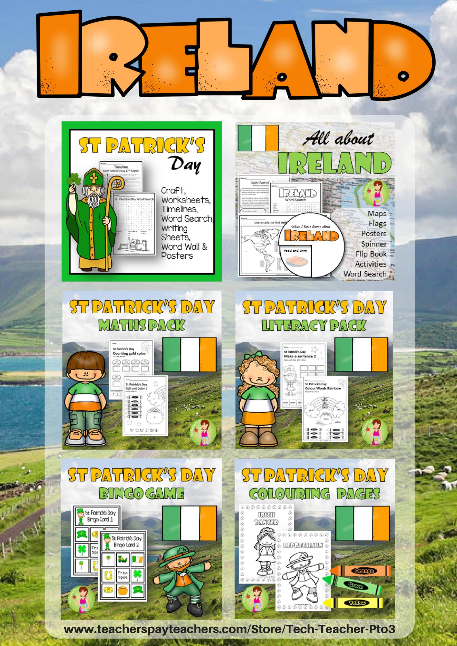 Ireland Bundle Saint Patrick Maps Worksheets History Literacy Math ...